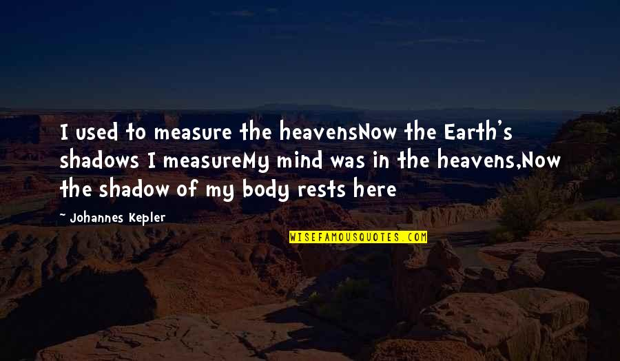 Rests Quotes By Johannes Kepler: I used to measure the heavensNow the Earth's