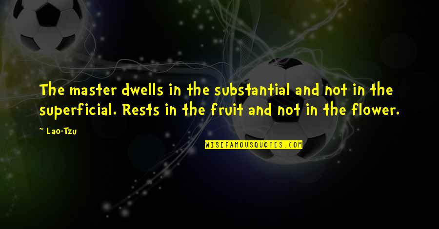 Rests Quotes By Lao-Tzu: The master dwells in the substantial and not
