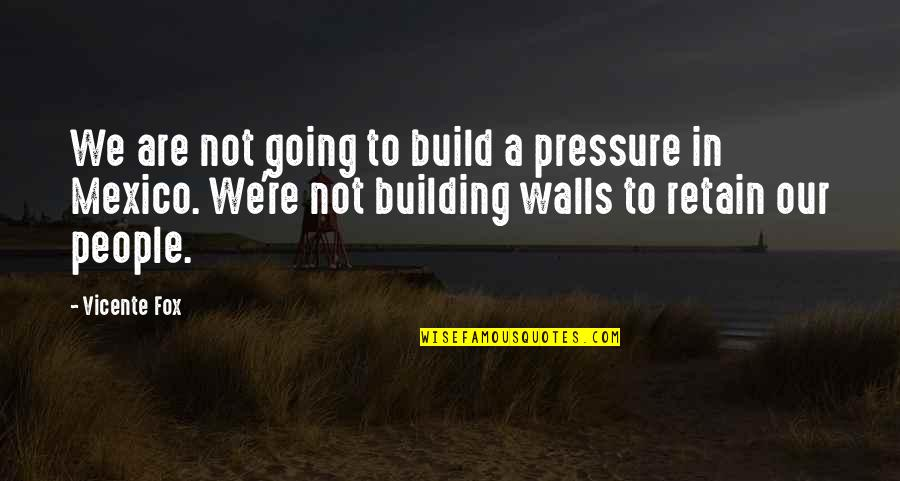 Retain Quotes By Vicente Fox: We are not going to build a pressure
