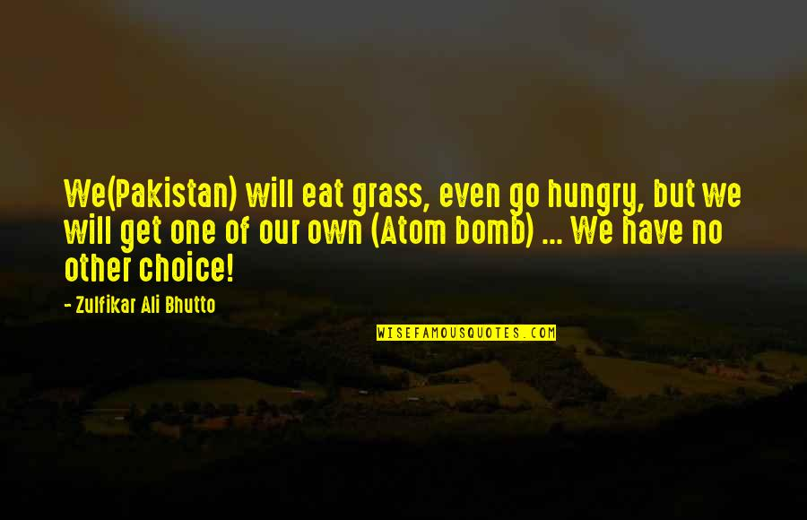 Retaliation Quotes By Zulfikar Ali Bhutto: We(Pakistan) will eat grass, even go hungry, but