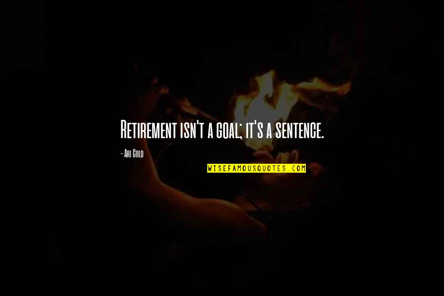 Retirement Happiness Quotes By Ari Gold: Retirement isn't a goal; it's a sentence.