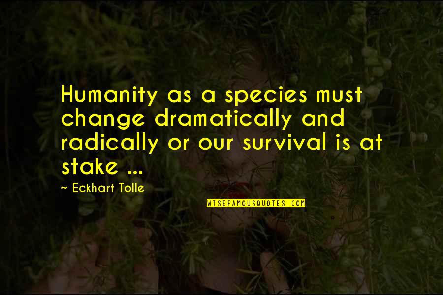 Retirement Slideshow Quotes By Eckhart Tolle: Humanity as a species must change dramatically and