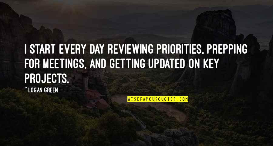 Reviewing Quotes By Logan Green: I start every day reviewing priorities, prepping for