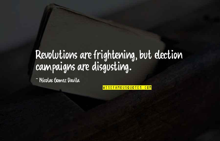 Revolution Quotes By Nicolas Gomez Davila: Revolutions are frightening, but election campaigns are disgusting.