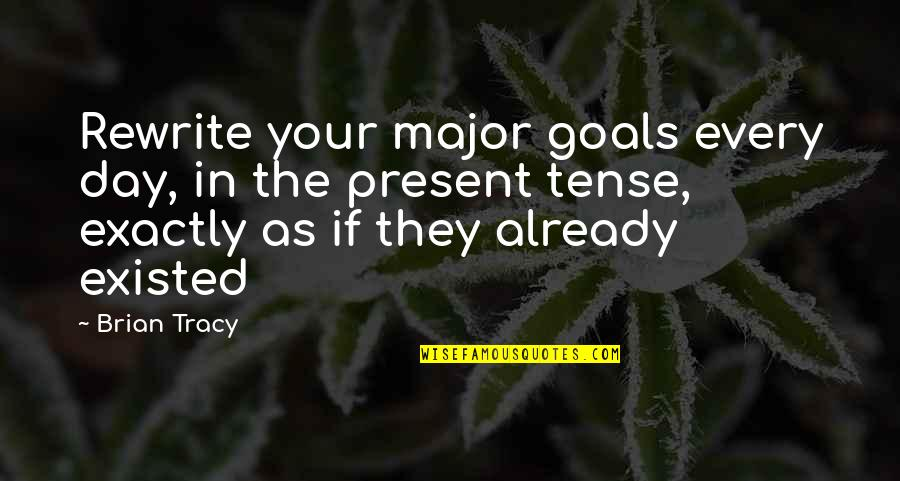 Rewrite Quotes By Brian Tracy: Rewrite your major goals every day, in the