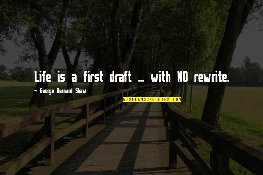 Rewrite Quotes By George Bernard Shaw: Life is a first draft ... with NO