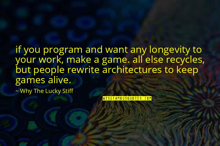 Rewrite Quotes By Why The Lucky Stiff: if you program and want any longevity to