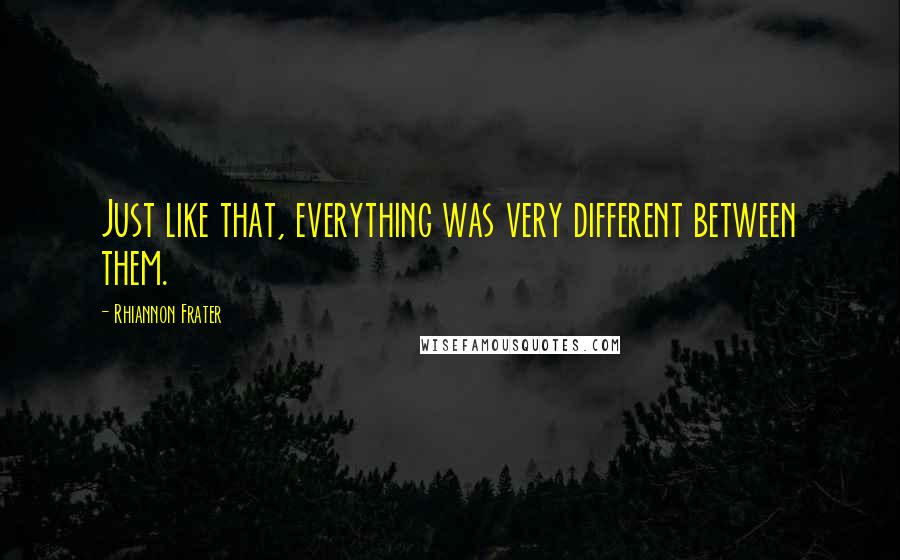 Rhiannon Frater quotes: Just like that, everything was very different between them.