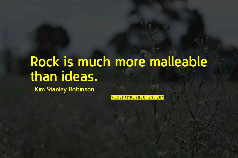 Richard Bach Hypnotizing Maria Quotes By Kim Stanley Robinson: Rock is much more malleable than ideas.