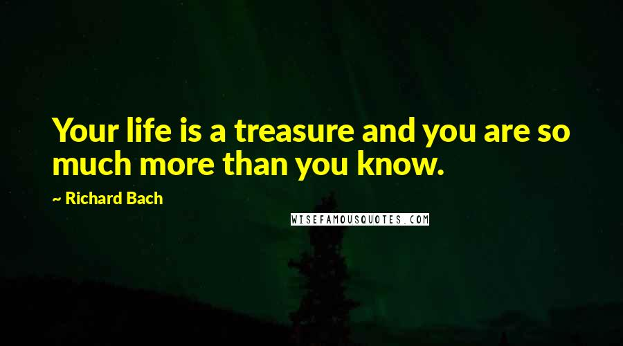 Richard Bach quotes: Your life is a treasure and you are so much more than you know.