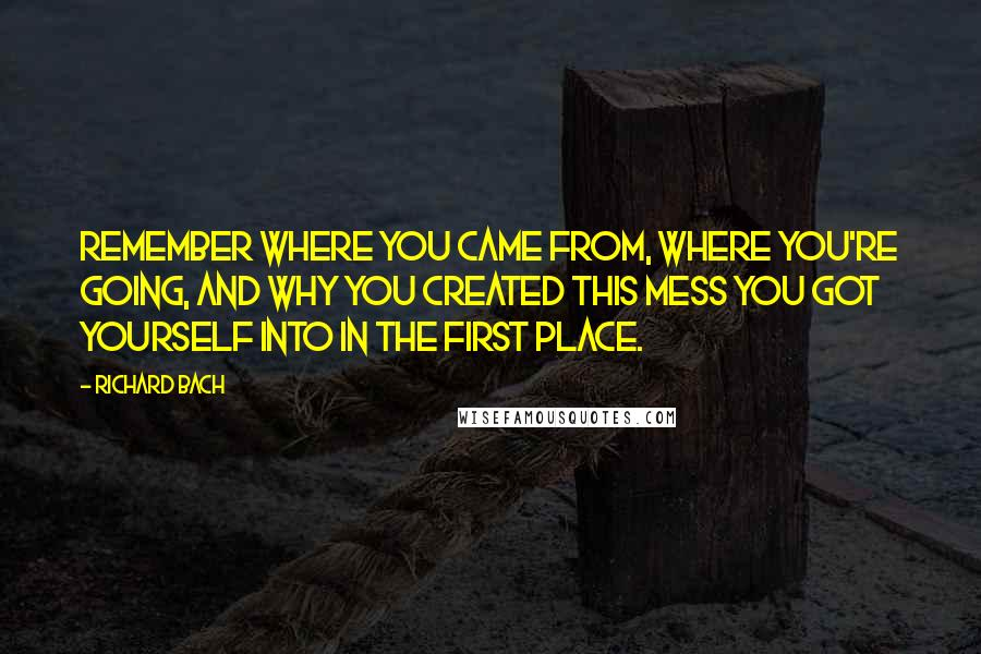 Richard Bach quotes: Remember where you came from, where you're going, and why you created this mess you got yourself into in the first place.