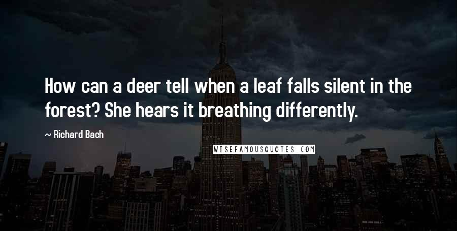 Richard Bach quotes: How can a deer tell when a leaf falls silent in the forest? She hears it breathing differently.