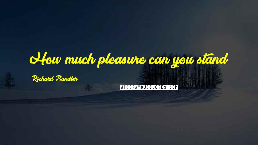 Richard Bandler quotes: How much pleasure can you stand?