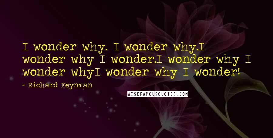 Richard Feynman quotes: I wonder why. I wonder why.I wonder why I wonder.I wonder why I wonder whyI wonder why I wonder!