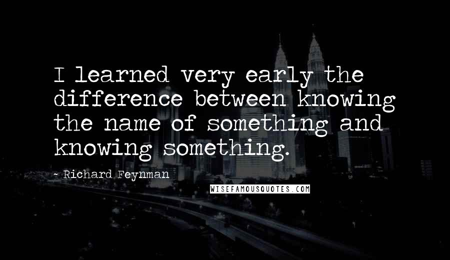 Richard Feynman quotes: I learned very early the difference between knowing the name of something and knowing something.