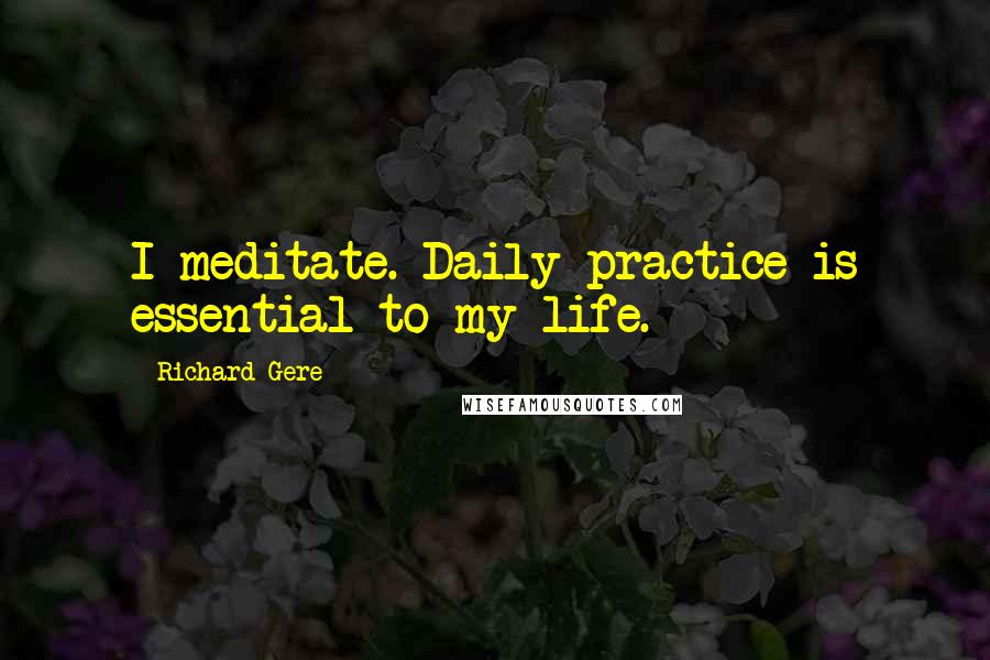 Richard Gere quotes: I meditate. Daily practice is essential to my life.