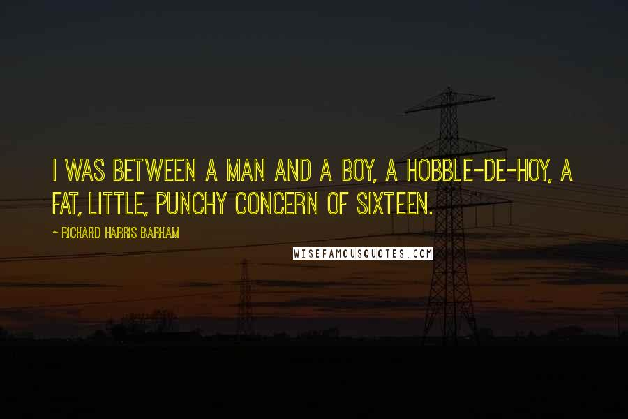 Richard Harris Barham quotes: I was between A man and a boy, A hobble-de-hoy, A fat, little, punchy concern of sixteen.