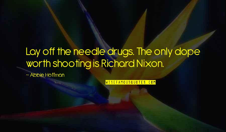 Richard Hoffman Quotes By Abbie Hoffman: Lay off the needle drugs. The only dope