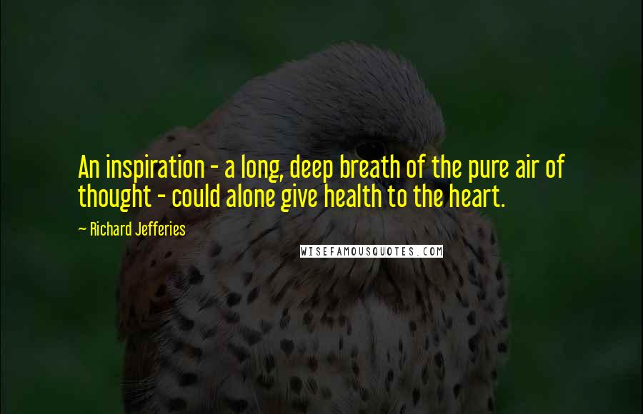 Richard Jefferies quotes: An inspiration - a long, deep breath of the pure air of thought - could alone give health to the heart.
