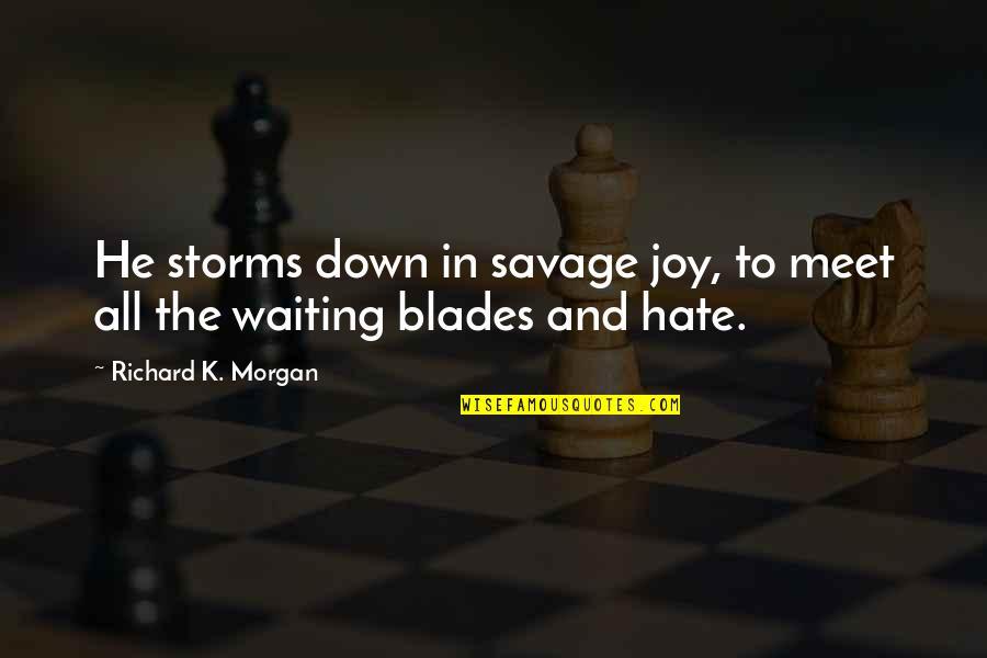 Richard K Morgan Quotes By Richard K. Morgan: He storms down in savage joy, to meet