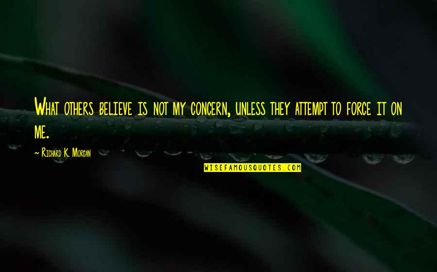 Richard K Morgan Quotes By Richard K. Morgan: What others believe is not my concern, unless