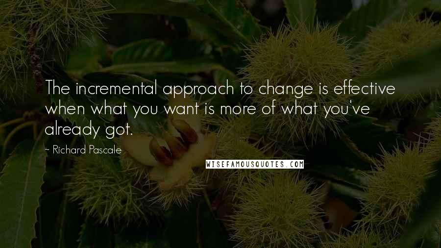Richard Pascale quotes: The incremental approach to change is effective when what you want is more of what you've already got.