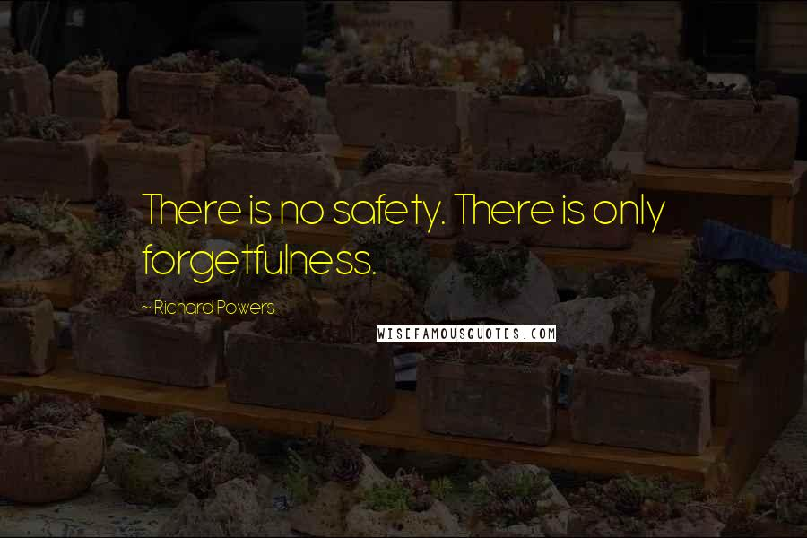 Richard Powers quotes: There is no safety. There is only forgetfulness.