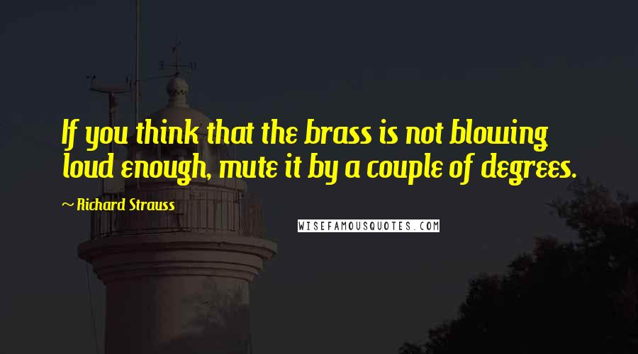 Richard Strauss quotes: If you think that the brass is not blowing loud enough, mute it by a couple of degrees.