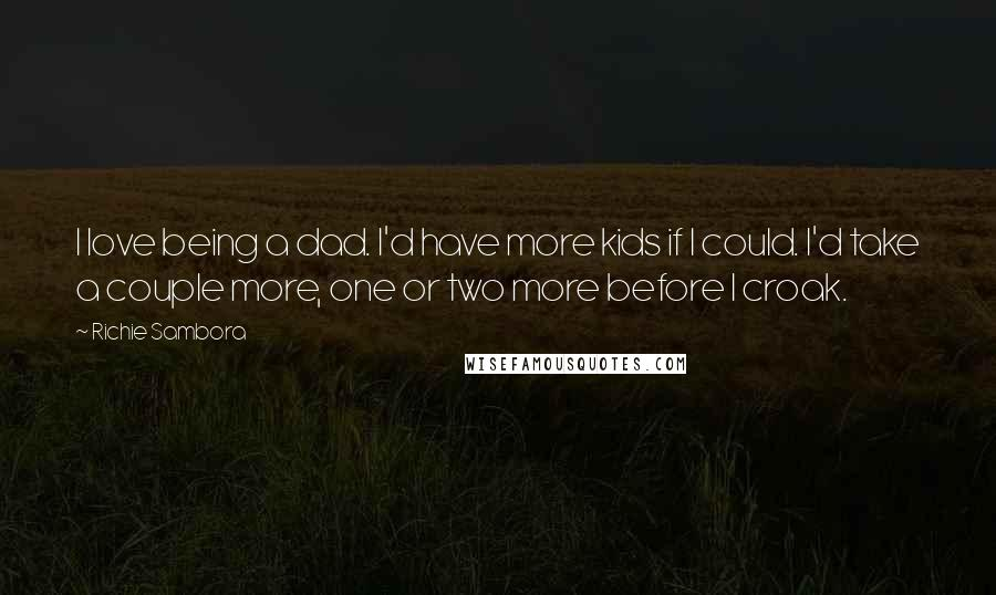 Richie Sambora quotes: I love being a dad. I'd have more kids if I could. I'd take a couple more, one or two more before I croak.