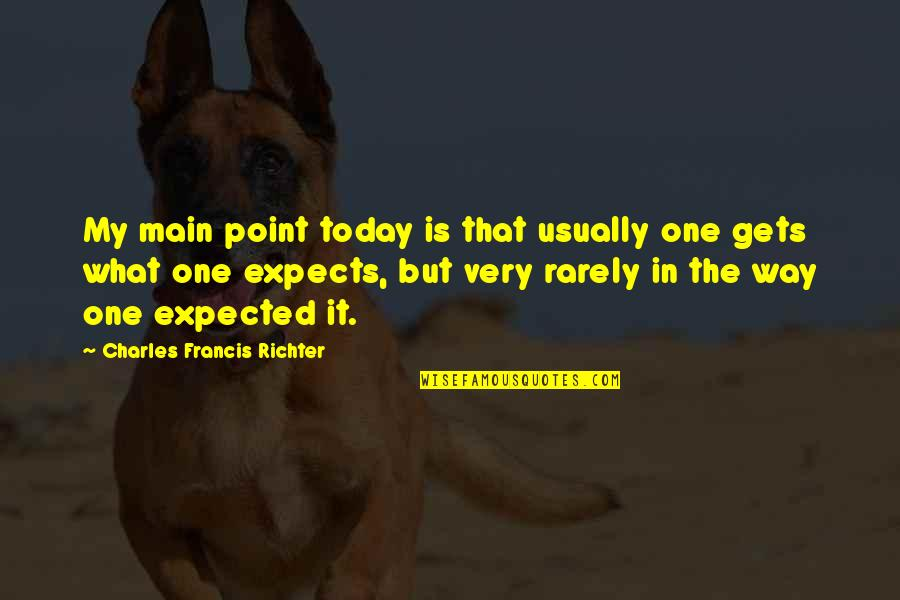 Richter's Quotes By Charles Francis Richter: My main point today is that usually one