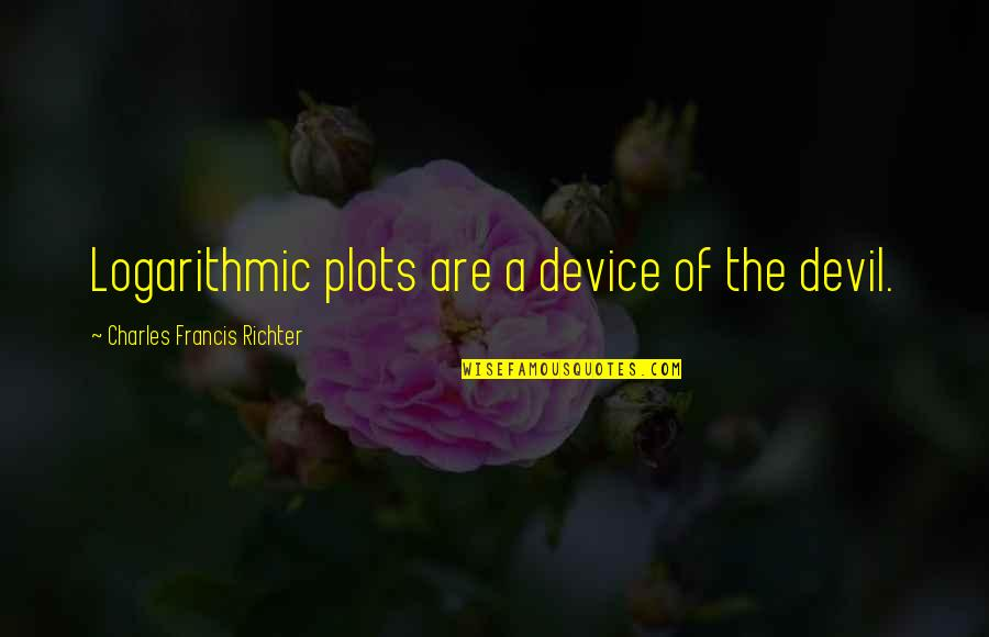 Richter's Quotes By Charles Francis Richter: Logarithmic plots are a device of the devil.