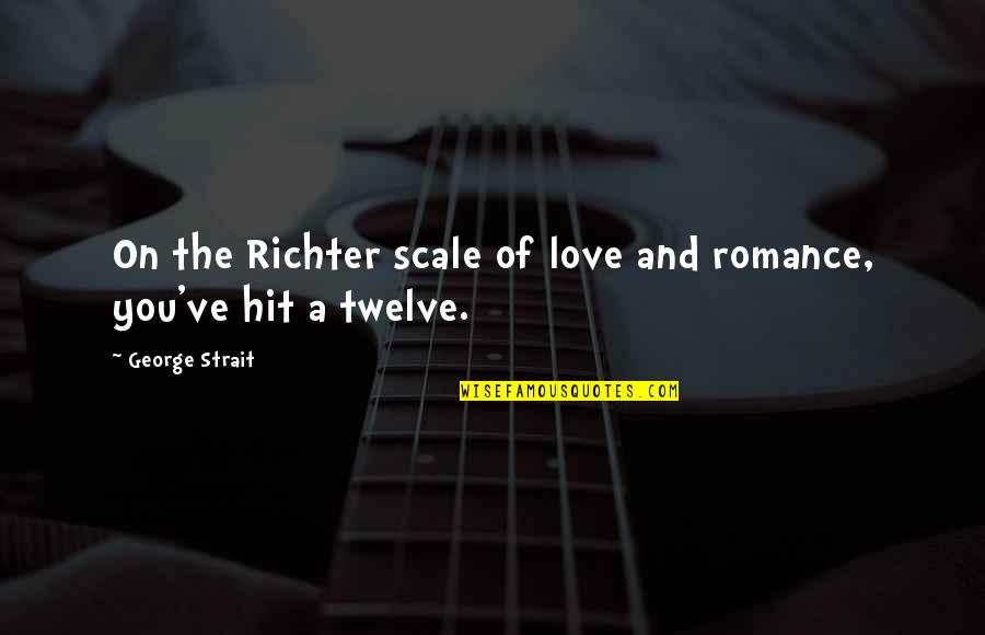 Richter's Quotes By George Strait: On the Richter scale of love and romance,
