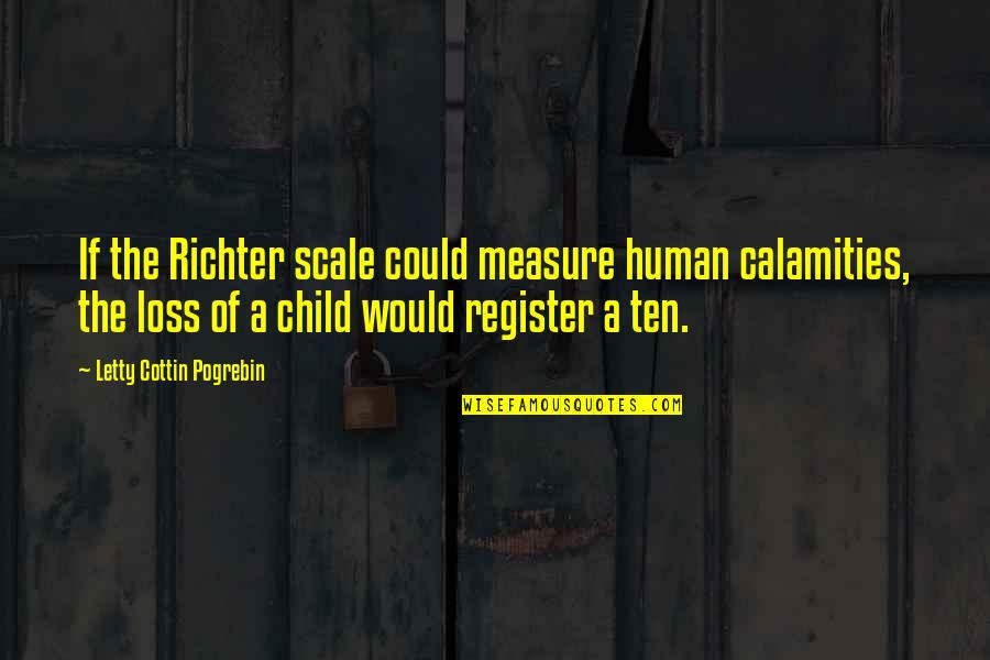 Richter's Quotes By Letty Cottin Pogrebin: If the Richter scale could measure human calamities,