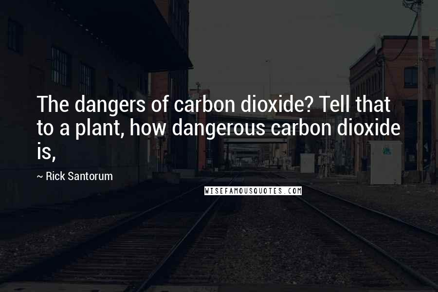 Rick Santorum quotes: The dangers of carbon dioxide? Tell that to a plant, how dangerous carbon dioxide is,