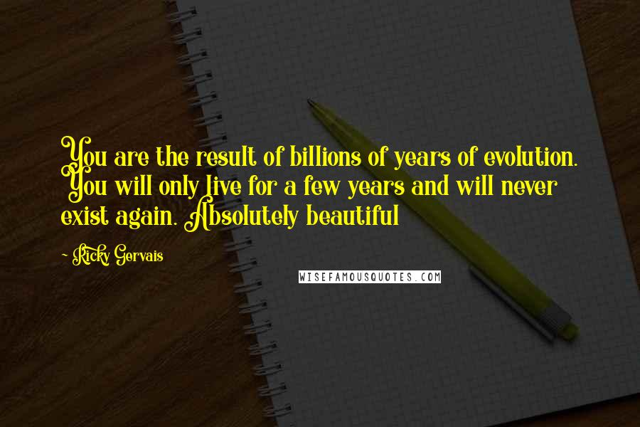 Ricky Gervais quotes: You are the result of billions of years of evolution. You will only live for a few years and will never exist again. Absolutely beautiful