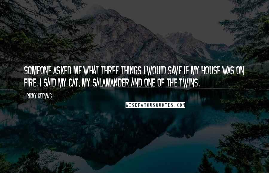 Ricky Gervais quotes: Someone asked me what three things I would save if my house was on fire. I said my cat, my salamander and one of the twins.