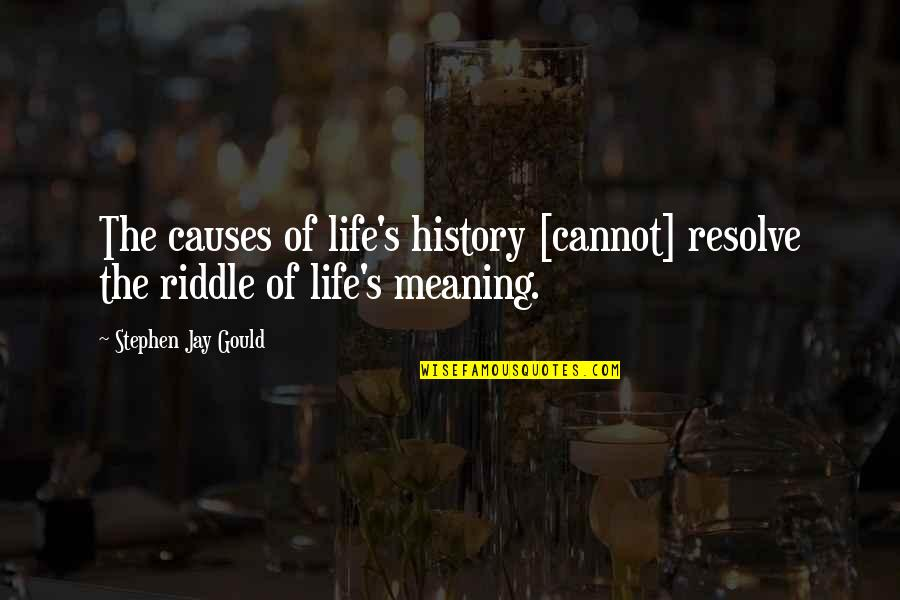 Riddle Life Quotes By Stephen Jay Gould: The causes of life's history [cannot] resolve the