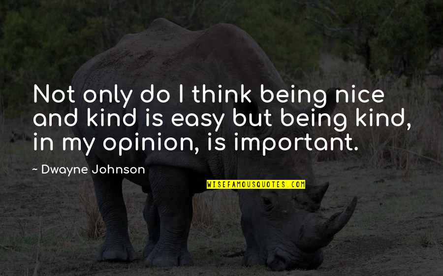 Rifq Quotes By Dwayne Johnson: Not only do I think being nice and