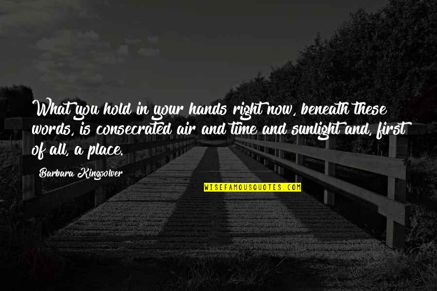Right Place Right Time Quotes By Barbara Kingsolver: What you hold in your hands right now,