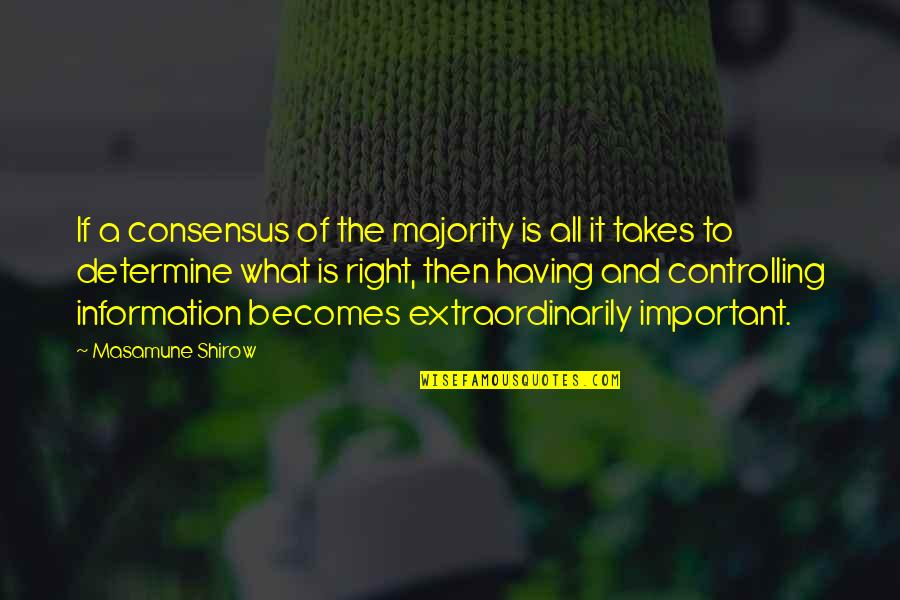 Right To Information Quotes By Masamune Shirow: If a consensus of the majority is all