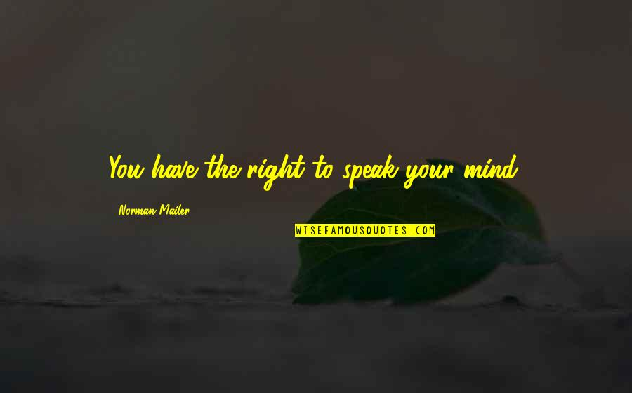 Right To Speak Quotes By Norman Mailer: You have the right to speak your mind.