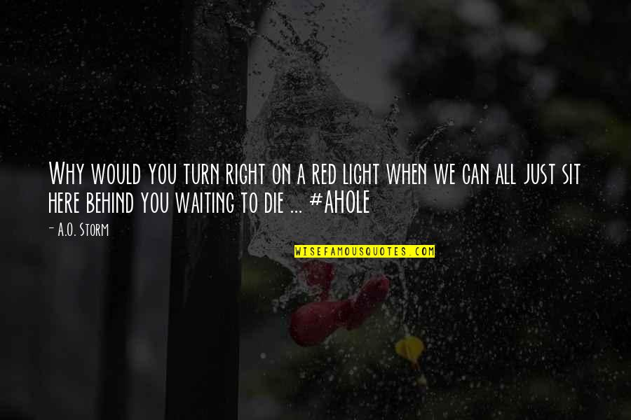 Right To Work Quotes By A.O. Storm: Why would you turn right on a red