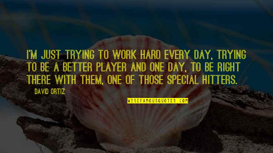 Right To Work Quotes By David Ortiz: I'm just trying to work hard every day,