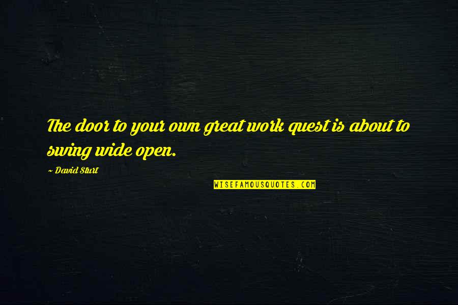 Right To Work Quotes By David Sturt: The door to your own great work quest