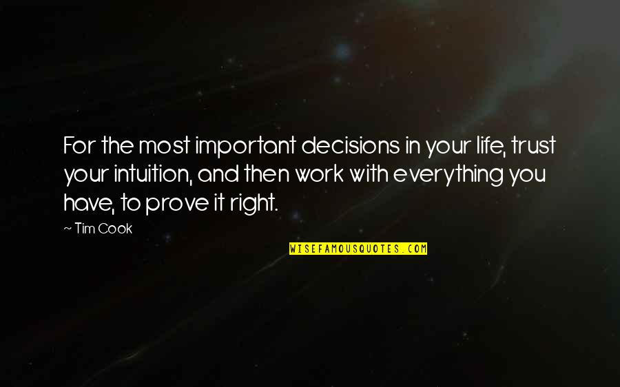 Right To Work Quotes By Tim Cook: For the most important decisions in your life,