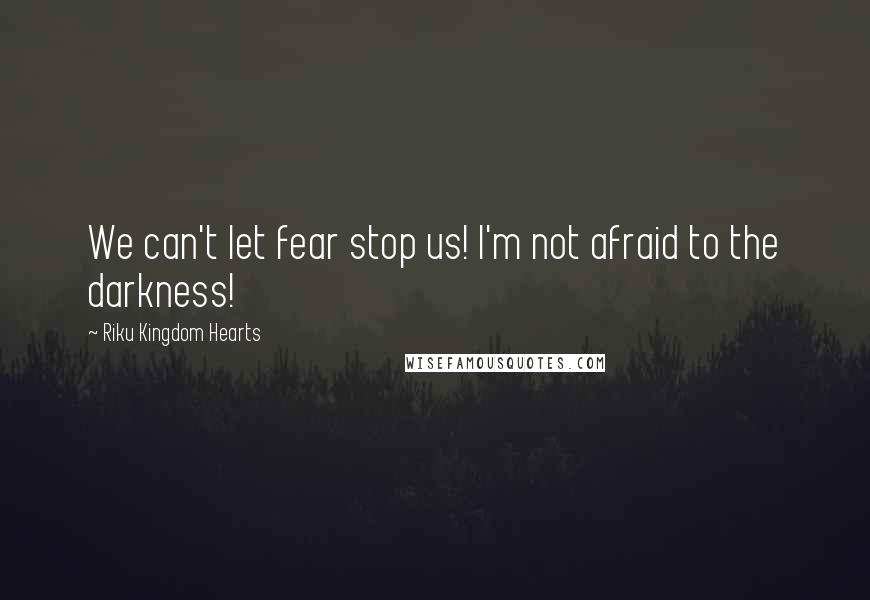 Riku Kingdom Hearts quotes: We can't let fear stop us! I'm not afraid to the darkness!