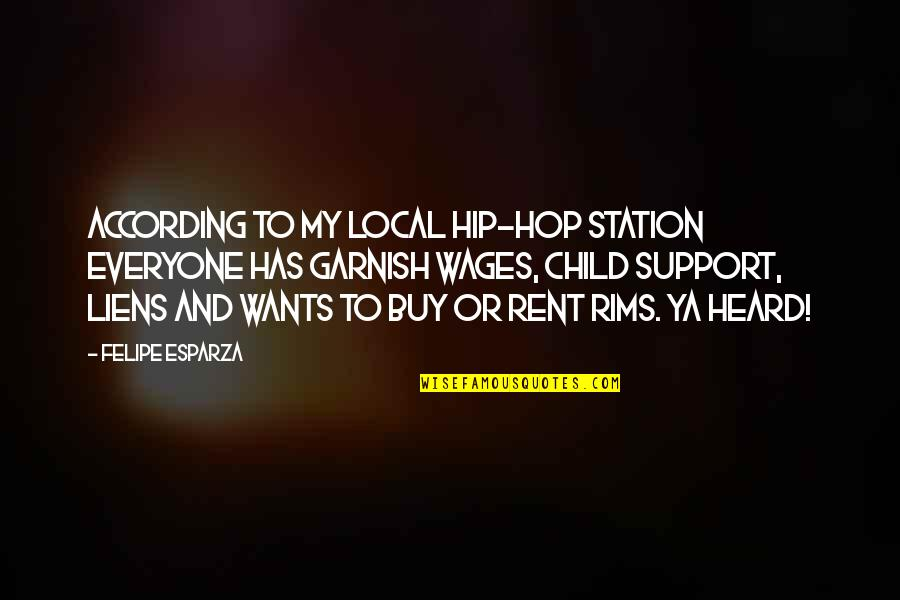 Rims Quotes By Felipe Esparza: According to my local hip-hop station everyone has