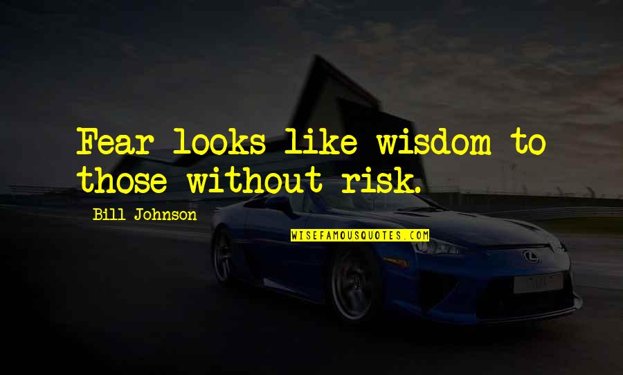 Risk Fear Quotes By Bill Johnson: Fear looks like wisdom to those without risk.