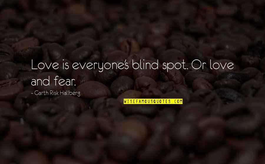 Risk Fear Quotes By Garth Risk Hallberg: Love is everyone's blind spot. Or love and