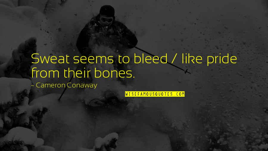 Rival Football Team Quotes By Cameron Conaway: Sweat seems to bleed / like pride from
